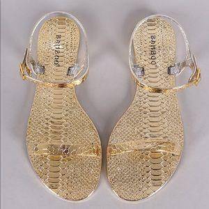 ❣️ NEW! Gold bamboo popsicle-01 snake skin sandal